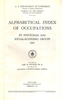 Alphabetical index of occupations by industries and social-economic groups 1937