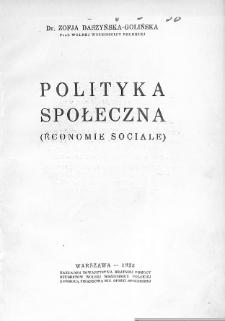 Polityka społeczna : (economie sociale)
