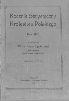 Rocznik statystyczny Królestwa Polskiego : rok 1913