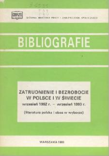 Zatrudnienie i bezrobocie w Polsce i w świecie : wrzesień 1992 r. - wrzesień 1993 r. : (literatura polska i obca w wyborze) /