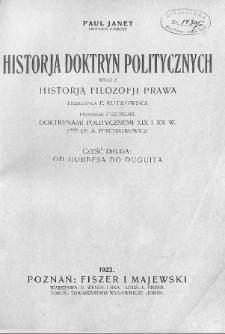 Historja doktryn politycznych : wraz z historją filozofji prawa. Cz. 2, Od Hobbesa do Duguita