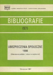 Ubezpieczenia społeczne : 1996 : (literatura polska i obca w wyborze)