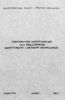 Taryfikator kwalifikacyjny dla pracowników ministerstw i urzędów centralnych