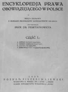 Encyklopedja prawa obowiązującego w Polsce : praca zbiorowa Cz. 1
