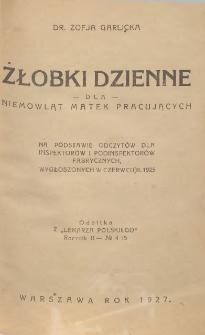 Żłobki dzienne dla niemowląt matek pracujących : na podstawie odczytów dla inspektorów i podinspektorów fabrycznych, wygłoszonych w czerwcu r. 1925