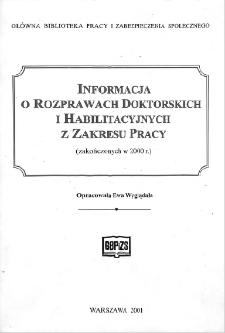 Informacja o rozprawach doktorskich i habilitacyjnych z zakresu pracy : (zakończonych w 2000 r.)