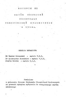 Zbiór orzeczeń Trybunału Ubezpieczeń Społecznych z 1958 r. R. 12.