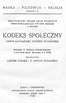Kodeks społeczny : zarys katolickiej syntezy społecznej