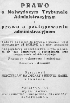 Prawo o Najwyższym Trybunale Administracyjnym i prawo o postępowaniu administracyjnym