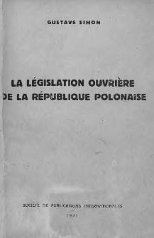 La legislation ouvriere de la Republique Polonaise