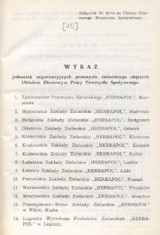 Układ zbiorowy pracy przemysłu spożywczego [z dnia 10 marca 1962 r.]. [10], Załączniki dla przemysłu zielarskiego