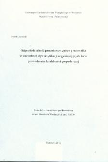 Odpowiedzialność pracodawcy wobec pracownika w warunkach dywersyfikacji organizacyjnych form prowadzenia działalności gospodarczej : praca doktorska