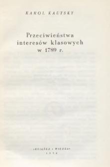 Przeciwieństwa interesów klasowych w 1789 r.
