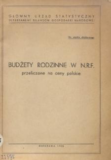 Budżety rodzinne w NRF przeliczone na ceny polskie