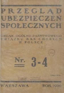 Przegląd Ubezpieczeń Społecznych : 1926, nr 3-4