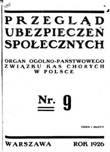 Przegląd Ubezpieczeń Społecznych : 1926, nr 9
