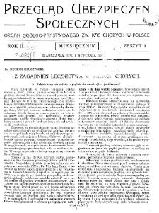 Przegląd Ubezpieczeń Społecznych : 1927, nr 1