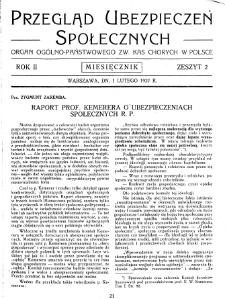 Przegląd Ubezpieczeń Społecznych : 1927, nr 2