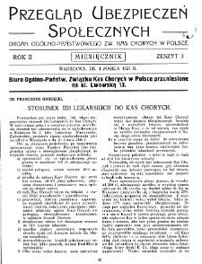 Przegląd Ubezpieczeń Społecznych : 1927, nr 3