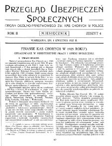 Przegląd Ubezpieczeń Społecznych : 1927, nr 4