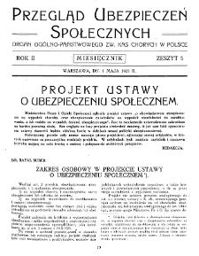 Przegląd Ubezpieczeń Społecznych : 1927, nr 5