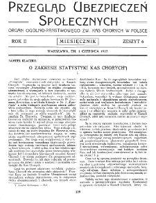 Przegląd Ubezpieczeń Społecznych : 1927, nr 6