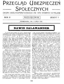 Przegląd Ubezpieczeń Społecznych : 1927, nr 7