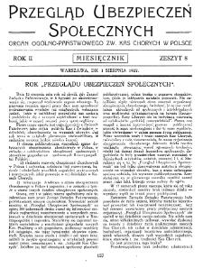 Przegląd Ubezpieczeń Społecznych : 1927, nr 8