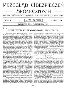 Przegląd Ubezpieczeń Społecznych : 1927, nr 10