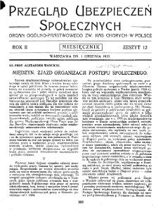Przegląd Ubezpieczeń Społecznych : 1927, nr 12