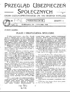 Przegląd Ubezpieczeń Społecznych : 1928, nr 1