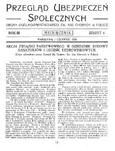 Przegląd Ubezpieczeń Społecznych : 1928, nr 6
