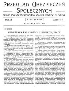 Przegląd Ubezpieczeń Społecznych : 1928, nr 7