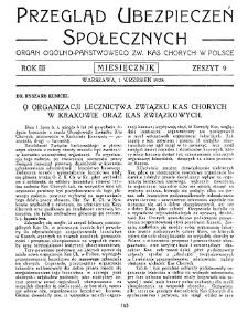 Przegląd Ubezpieczeń Społecznych : 1928, nr 9