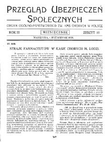 Przegląd Ubezpieczeń Społecznych : 1928, nr 10