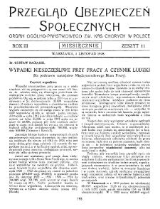 Przegląd Ubezpieczeń Społecznych : 1928, nr 11