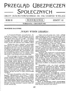 Przegląd Ubezpieczeń Społecznych : 1928, nr 12
