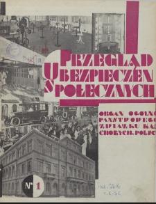 Przegląd Ubezpieczeń Społecznych : 1929, nr 1