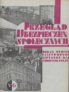 Przegląd Ubezpieczeń Społecznych : 1929, nr 6