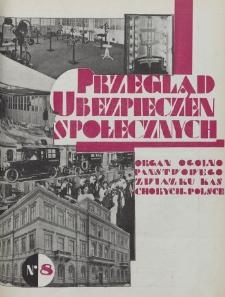 Przegląd Ubezpieczeń Społecznych : 1929, nr 8