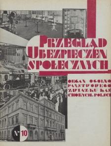 Przegląd Ubezpieczeń Społecznych : 1929, nr 10