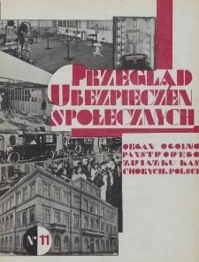 Przegląd Ubezpieczeń Społecznych : 1929, nr 11