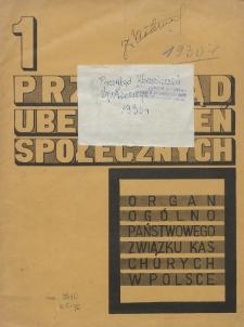 Przegląd Ubezpieczeń Społecznych : 1930, nr 1