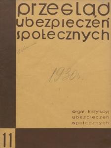 Przegląd Ubezpieczeń Społecznych : 1930, nr 11