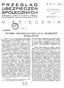 Przegląd Ubezpieczeń Społecznych : 1931, nr 1