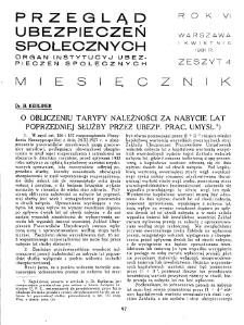 Przegląd Ubezpieczeń Społecznych : 1931, nr 4