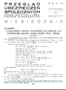 Przegląd Ubezpieczeń Społecznych : 1931, nr 7