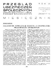 Przegląd Ubezpieczeń Społecznych : 1931, nr 10
