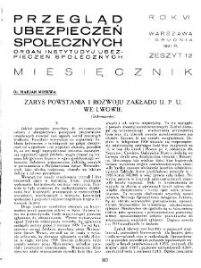 Przegląd Ubezpieczeń Społecznych : 1931, nr 12
