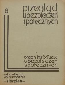 Przegląd Ubezpieczeń Społecznych : 1932, nr 8
